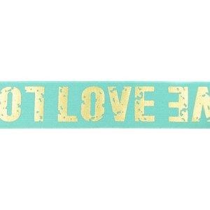 taille-elastiek 4 cm breed: goudkleurige love letters op mint / HALVE METER