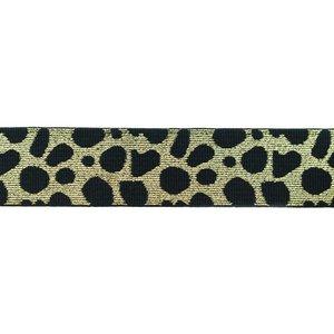 taille-elastiek 4 cm breed: cheetah licht goud op zwart / HALVE METER