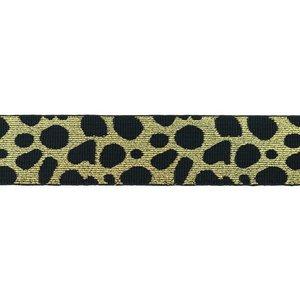 taille-elastiek 4 cm breed: cheetah goud op zwart / HALVE METER