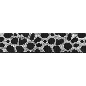 taille-elastiek 4 cm breed: cheetah zilver op zwart / HALVE METER