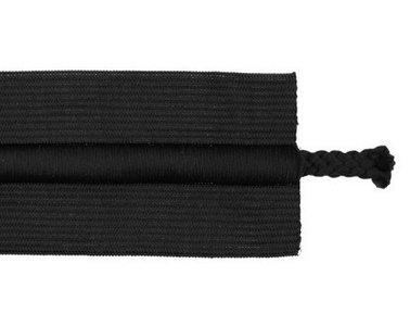 taille-elastiek 5 cm breed met koord in het midden: zwart /HALVE METER