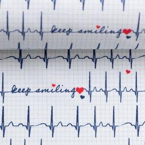 Toni: witte katoen met de tekst: keep smiling tussen cardiogram.