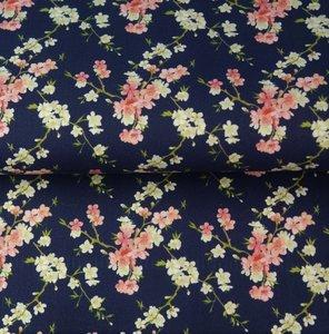 Stenzo: fijne bloemetjes op donkerblauwe katoen