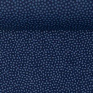 Dotty: 100 % katoenen poplin donkerblauw met blauwe kleine stipjes