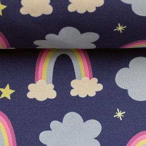 softshell: prinses fantasie! donkerblauw met regenbogen