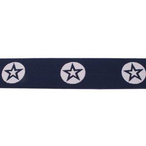 taille-elastiek 4 cm breed: ster in een rondje: donkerblauw met wit / HALVE METER