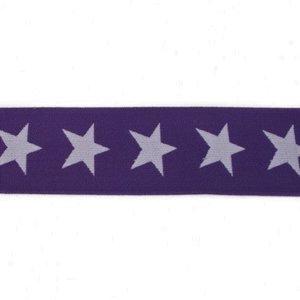 taille-elastiek 4 cm breed: sterren wit op paars /HALVE METER