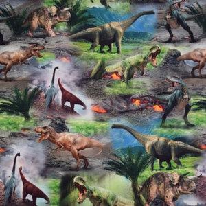 digitaal bedrukte dinosaurussen op tricot