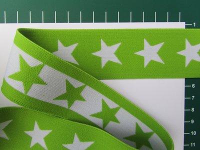 taille-elastiek 4 cm breed: sterren wit met lichtgroen/HALVE METER