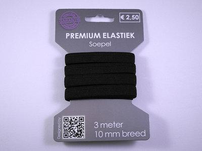 elastiek 3 meter zwart /10 mm breed