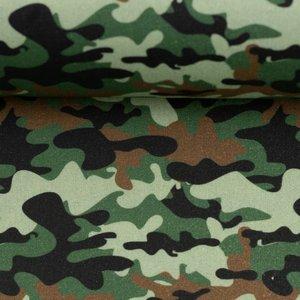 Kim: 100 % katoenen poplin camouflage army/legergroen