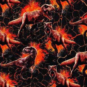 French terry/ digitaal bedrukte dino's en vlammen op zwart van JURASSIC WORLD