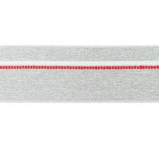 taille-elastiek 4 cm breed: gemêleerd lichtgrijs met witte lijn en rode stippelstreep aan één kant/HALVE METER