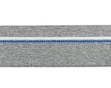 taille-elastiek 4 cm breed: gemêleerd grijs met witte lijn en blauwe stippelstreep aan één kant/HALVE METER