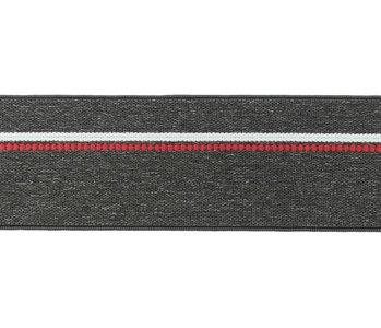 taille-elastiek 4 cm breed: gemêleerd donkergrijs met witte lijn en rode stippelstreep aan één kant/HALVE METER
