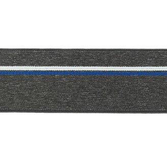 taille-elastiek 4 cm breed: gemêleerd donkergrijs met witte lijn en blauwe stippelstreep aan één kant/HALVE METER