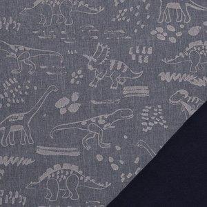 Pondero = reflecterende softshell: dino's zilver op jeansblauw (weer binnen!)