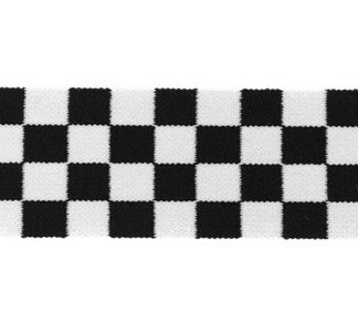 taille-elastiek 4 cm breed: geblokt zwart/wit per HALVE METER