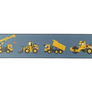 taille-elastiek 4 cm breed: jeanskleurig zacht elastiek met gedrukte bouwvoertuigen /HALVE METER