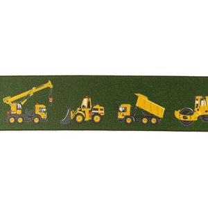 taille-elastiek 4 cm breed: army zacht elastiek met gedrukte bouwvoertuigen /HALVE METER