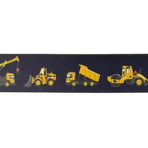 taille-elastiek 4 cm breed: donkerblauw zacht elastiek met gedrukte bouwvoertuigen /HALVE METER
