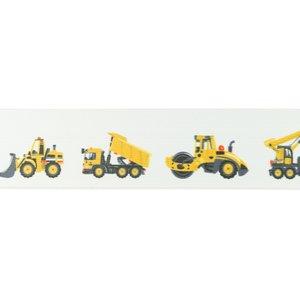 taille-elastiek 4 cm breed: wit zacht elastiek met gedrukte bouwvoertuigen /HALVE METER