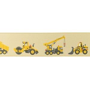 taille-elastiek 4 cm breed: zandkleurig zacht elastiek met gedrukte bouwvoertuigen /HALVE METER