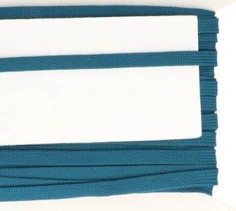 jeansblauw veterband oftewel plat koord 9 mm breed, dubbeldik