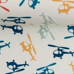 Klaas: helikopters in rood, oker, petrol, donkerblauw en lichtblauw-grijs op wolwitte tricot