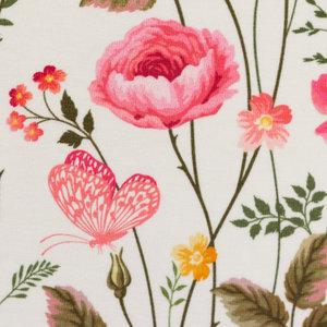 Henry: roze bloemen en blaadjes met hier en daar een vlindertje op wolwitte tricot