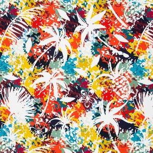 Lara: tricot met ananas en palmbomen op drukke kleuren