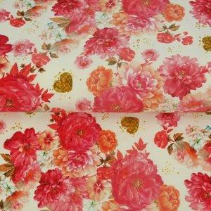 Stenzo: tricot met rozen, digitaal bedrukt