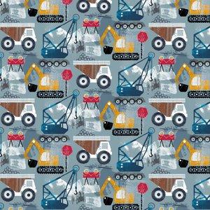 biologische katoenen tricot: bouwvoertuigen op licht jeansblauw