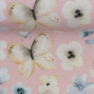 Theo: tricot roze met vlinders in waterverfkleuren
