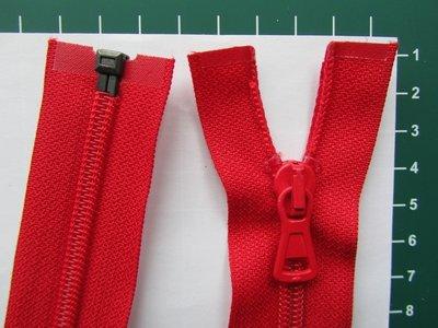 Deelbare rits met automatische runner, rood, 55 cm
