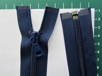 Deelbare rits met automatische runner, donkerblauw, 45 cm