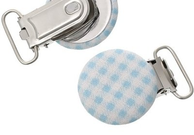 speenkoordclip, hout met stof bekleed: lichtblauw-wit ruitje