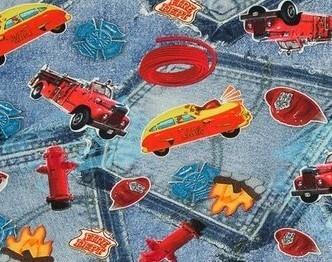 holger: digitaal bedrukte tricot:brandweerauto enz
