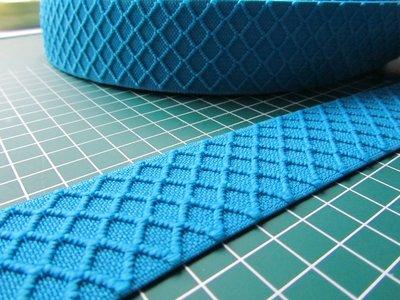 taille-elastiek 4 cm breed: turquoise met ingeweven ruit /HALVE METER