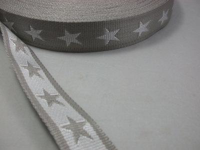 tassenband met sterren 4 cm breed: lichtbeige-grijs/wit