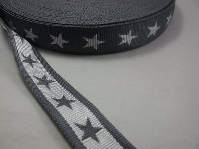 tassenband met sterren 4 cm breed: grijs/wit