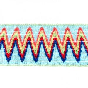 Sierelastiek 6 cm breed: zigzag lichtblauw