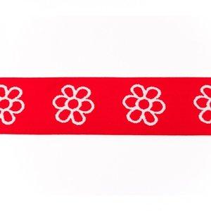 taille-elastiek 4 cm breed: bloemen wit met rood /HALVE METER