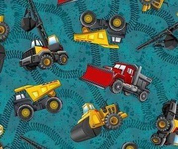 coupon 75 cm: construction: tricot met werkvoertuigen/ petrol