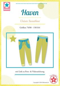 Haven, patroon van een smalle joggingbroek voor jongens en meisjes in de maten  74/80 -158/164