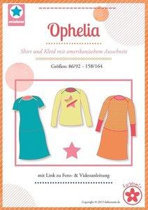 Ophelia, patroon van een shirt voor jongens en meisjes en een jurk in de maten 86/92 -158/164.