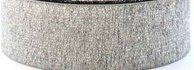 taille-elastiek 2,5 cm breed: zilver / HALVE METER