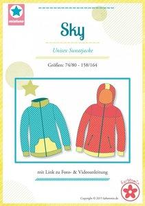 Sky, patroon van een sweatvest of jas in de maten 74/80 tot en met 158/164