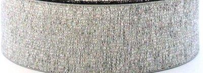 taille-elastiek 3 cm breed: zilver/ HALVE METER