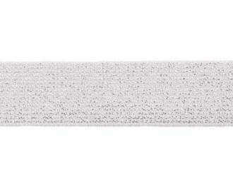 glitter-taille-elastiek offwhite (gebroken wit) 2,5 cm breed:  / HALVE METER